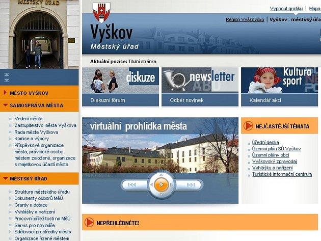 Vítězem krajského kola soutěže Zlatý erb o nejlepší webové stránky měst se stal Vyškov.