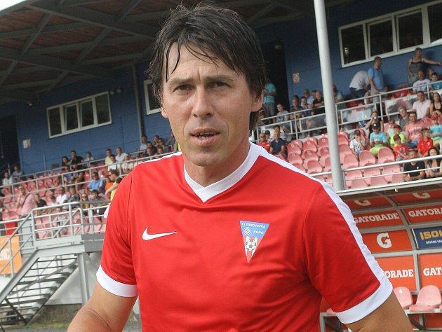 Vyškovský trenér Jan Trousil na rozlučce s brněnským fotbalistou Lubošem Kaloudou.