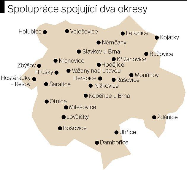 Ve svazku vzájemně spolupracuje sedmadvacítka obcí a měst zVyškovska a Hodonínska.