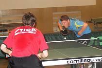 V rámci tréninkového kempu v Drnovicích sehráli čeští reprezentanti ve stolním tenisu exhibiční miniturnaj.