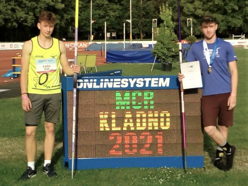 Atleti Orla Vyškov na MČR dorostu a juniorů. Alexandr Čača (vlevo) a Jan Jakub Čáp.