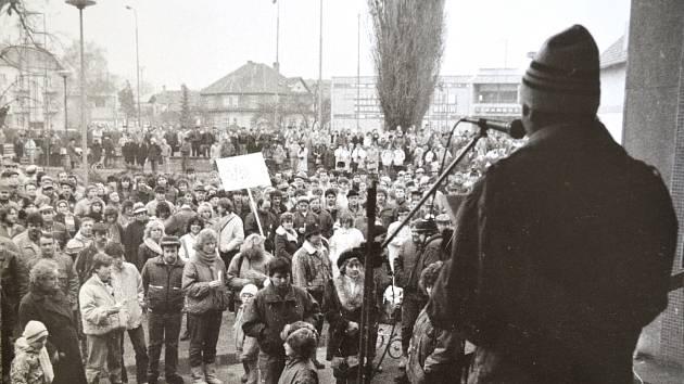 Lidé protestovali proti komunistickému režimu i ve Vyškově.