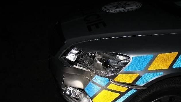 Řidič najel do dvou policejních aut a skončil ve stromě.