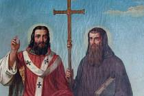 Svatý Cyril a Metoděj, detail obrazu od Josefa Zeleného (1824 - 1886) v Rajhradském klášteře.