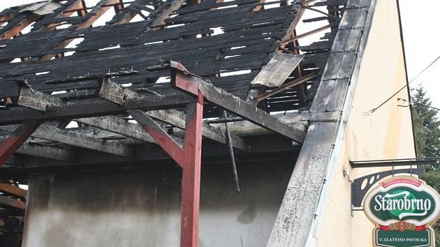 Požár Hospody v Chvalkovicích na Hané