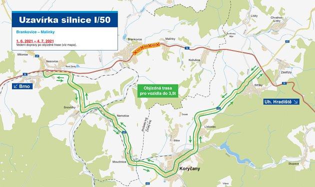 Mapa oprav na D1 včetně objízdných tras.