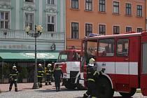 Na požár bytu na vyškovském Masarykově náměstí upozornili kolemjdoucí.