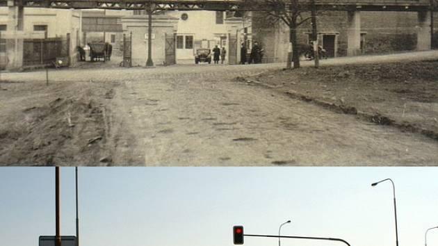 Cukrovar v padesátých letech a pohled ze stejného místa před několika týdny.