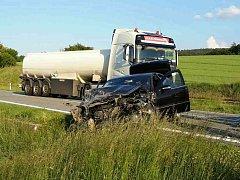 Nehoda na sillnici I/50 v Bučovicích.