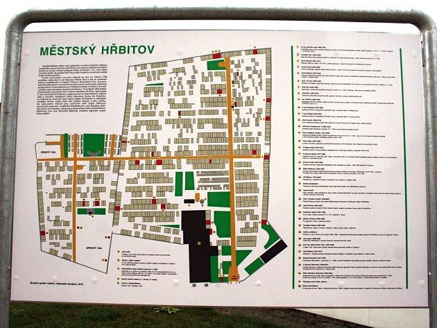 Informační tabule na vyškovském hřbitově obsahuje množství překlepů.