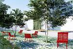 Vizualizace variant revitalizace Palackého náměstí. Zahrnují více zeleně a i komunitní dům.