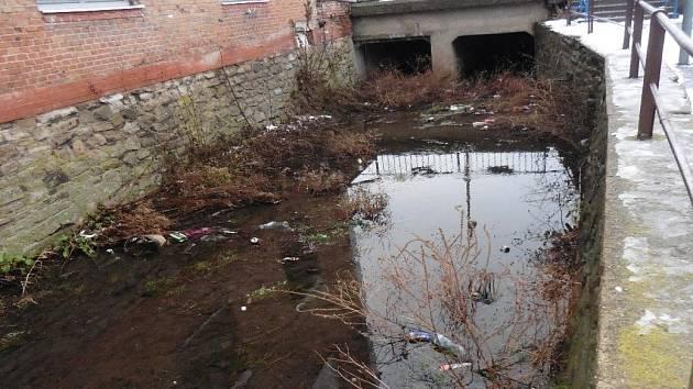 Takto vypadal zaneřáděný potok kolem takzvané Holubí uličky.
