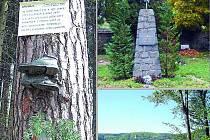 Zleva doprava, odshora dolů: Připomínka vraždy ševcovského učně na jedné z borovic v račických lesích. Pomník zastřelených parašutistů na hřbitově v Račicích. Pohled na Račice z okolních kopců.