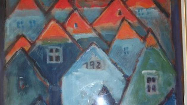 Výřez z obrazu Jiřího Homoly. Muzeum Vyškovska uspořádalo výstavu k nedožitým osmdesátým narozeninám známého vyškovského malíře.