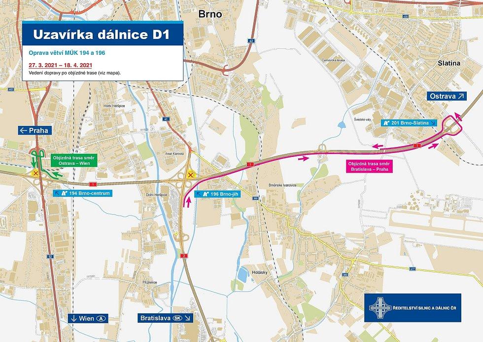 Ředitelství silnic a dálnic opraví rampy mimoúrovňových křižovatek na 194. a 196. kilometru D1.