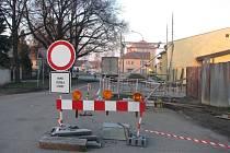 Uzavírka silnice v Bučovicích