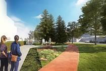Vizualizace. Součástí návrhu je například park v prostoru za garážemi, parkovací stání, výsadba zeleně, oprava chodníků, ale také výsadba aleje v ulici Nádražní.