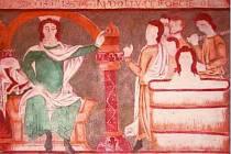 Na výstavě Sága moravských Přemyslovců mohou návštěvníci obdivovat například výjevy Ze života svatého Jana Evangelisty na kopii slavné nástěnné malby ze sakristie baziliky svatého Prokopa v Třebíči.