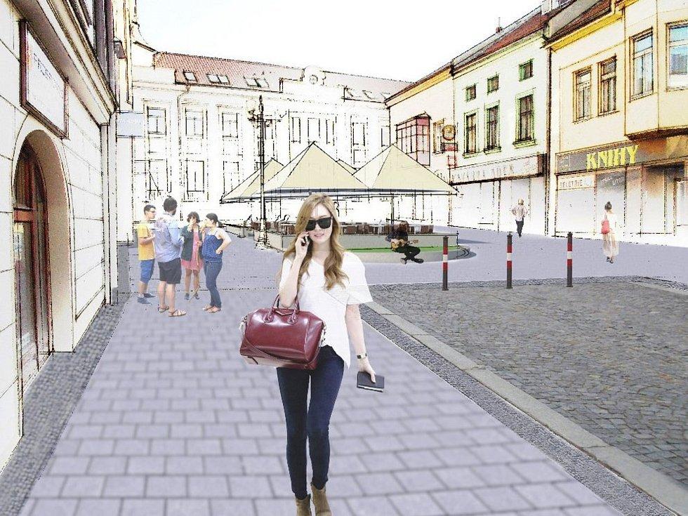 Kromě nové barvy chodníků si po rekonstrukci Masarykova náměstí ve Vyškově lidé užijí i odpočinkové plochy v Husově ulici. Silnice v centru ani trojúhelníkového středu náměstí se práce letos ani příští rok nedotknou.