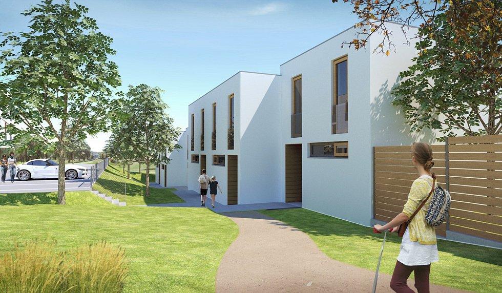 Řadové rodinné domy staví u křížení ulic Vyškovská a Školní. Vizualizace.