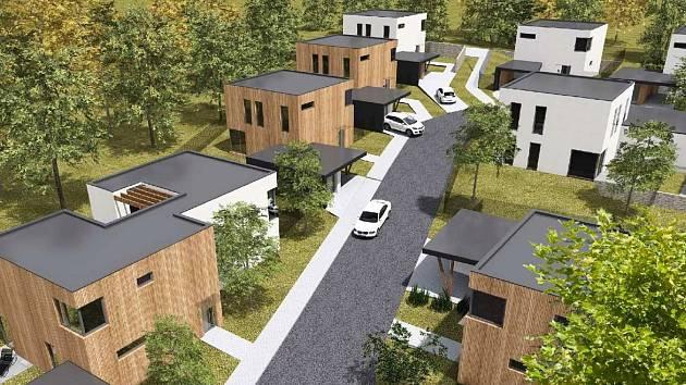 Vizualizace nových rodinných domů v Rousínově.