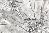 Na výřezu mapy z roku 1828 se zvýrazněnými rybničními hrázemi je fotografie pozůstatků hráze rybníka na vážanských loukách z loňského roku a pohlednice Královopolských Vážan odeslaná roku 1903.  Repro a foto: