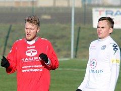 V přípravném utkání se Slováckem B (2:1) se v dresu MFK Vyškov po delší době zaviněné zraněním objevil Michal Holub (vlevo).
