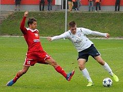 V 6. kole Moravskoslezské fotbalové ligy (MSFL) remizoval FC Velké Meziříčí (v červeném) s MFK Vyškov 1:1.