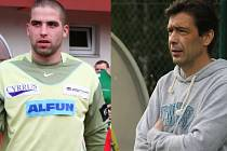 Trenéři Jan Kopáček (vlevo)-  MFK Vyškov B a Marek Pokorný - FC Bučovice.