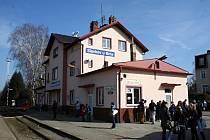 Vlakové nádraží ve Slavkově u Brna.