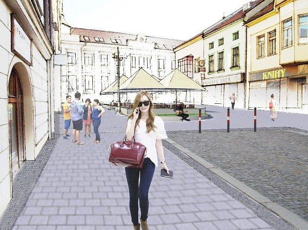 Kromě nové barvy chodníků si po rekonstrukci Masarykova náměstí ve Vyškově lidé užijí i odpočinkové plochy v Husově ulici.