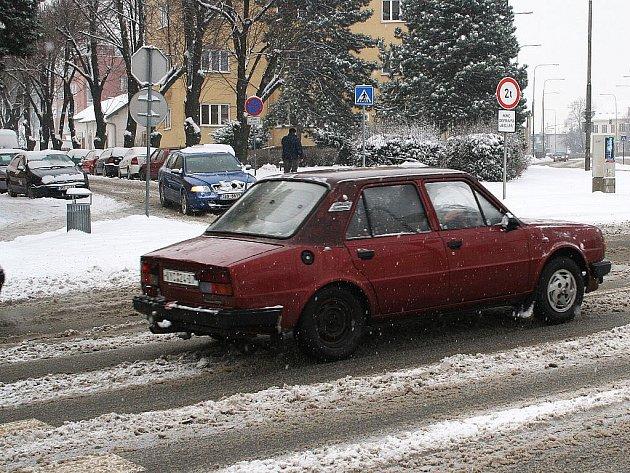 Přívaly sněhu ve Vyškově.