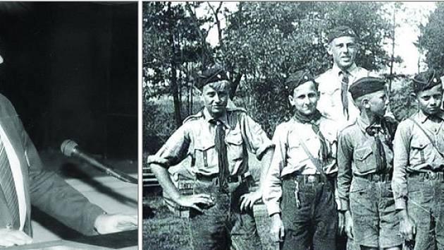 Snímek vlevo zachycuje Jaroslava Rozsívala v roce 1990. Druhá fotografie byla pořízená na skautském táboře v Horní Bobrové v letech 1939 a 1940. Rozsíval je zcela vzadu.
