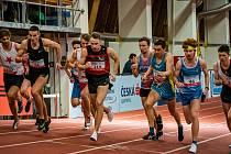 Třetí závod Halové atletické ligy mužů a žen v Praze. Jakub Bárek je zcela vpravo.