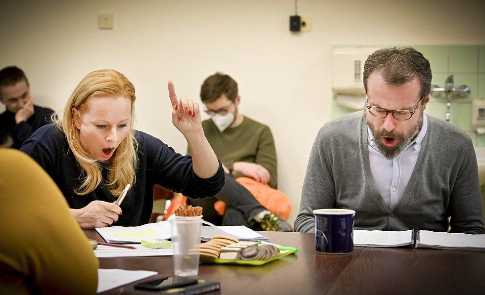 Čtená zkouška připravované inscenace Kdo se bojí Virginie Woolfové. Představení připravují umělci Činohry Národního divadla Brno.