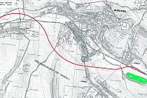 Mapa trasy obchvatu.