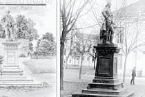 Pomník císaře Josefa II. Na dobové pohlednici a vzácném historickém snímku.