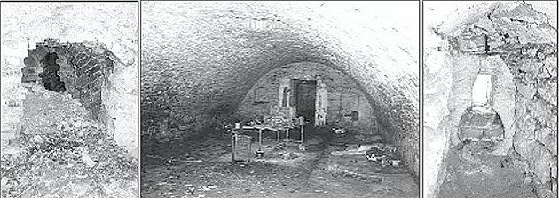 Zleva doprava. Průraz z lednice do dalších sklepení. Hlavní sklep lednice u kapličky. Stav z letošního roku. Kamenné ostění střílny ve věži kostela, rok 2007.