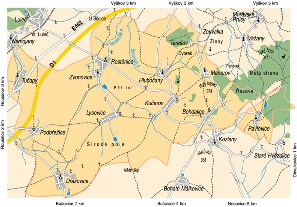 Původní mapa Svazku obcí Větrník. Dnes už nezahrnuje Tučapy.
