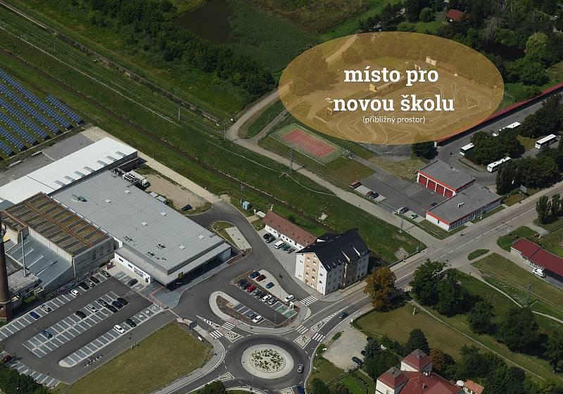 Přibližný prostor pro novou školu.