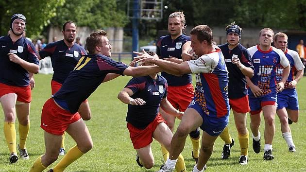 Ragbyový zápas mezi Vyškovem a Petrovicemi.