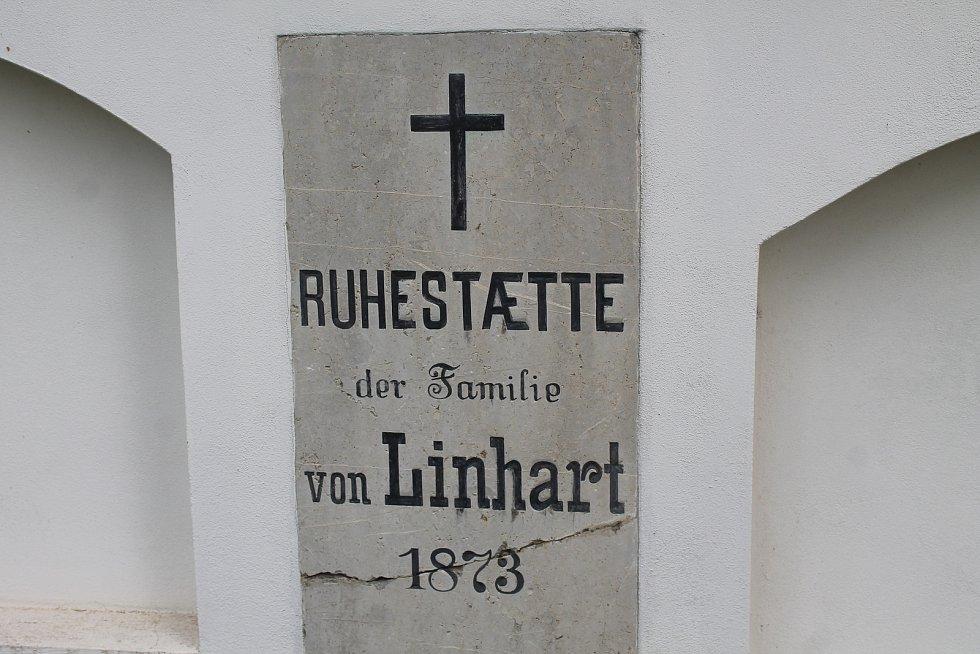 Některé starší náhrobky jsou popsané v němčině. Tento pochází z devatenáctého století.