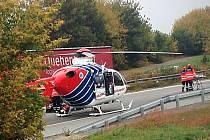 U nehody na D1 u Rousínova přistával i vrtulník.