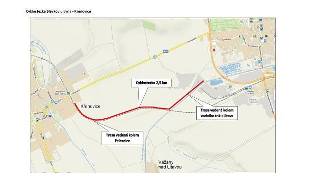 Necelý tři a půl kilometru dlouhá stezka povede od mostu u čistírny odpadních vod v ulici U Splavu až do obce Křenovice, kde naváže na stávající asfaltovou cestu.