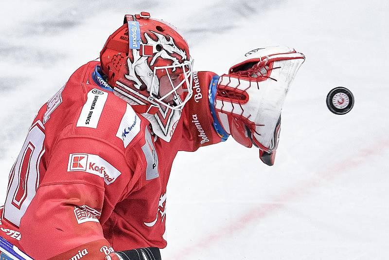 Utkání 42. kola hokejové extraligy: HC Oceláři Třinec - HC Vítkovice Ridera, 2. února 2021 v Třinci. brankář Třince Ondřej Kacetl.