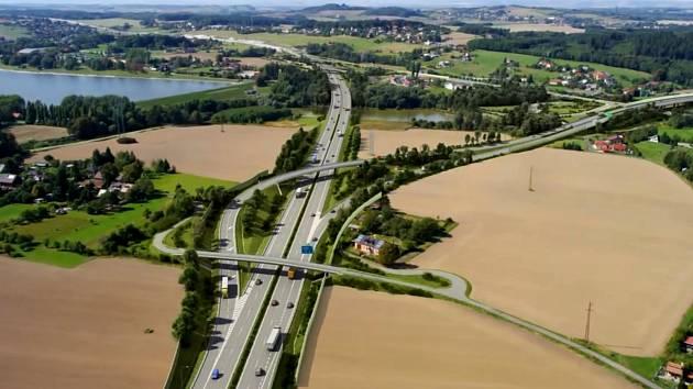 Vizualizace části obchvatu města v místě napojení D56 na budoucí část D48. Vybudování mostu, co je na snímku nejblíže, má na starosti zatím.