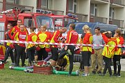 V požárním útoku soutěžili hasiči v sobotu odpoledne ve Frýdku-Místku.