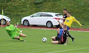 Varnsdorf (ve žlutém) na domácím hřišti porazil v duelu týmů ze spodních pater tabulky Frýdek-Místek 1:0.