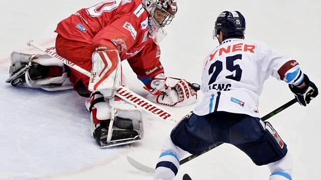 Hokejisté Třince v zápase 21. kola hokejové extraligy proti Liberci.