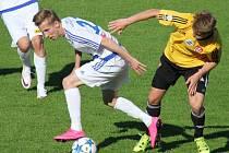 Duel 26. kola FNL mezi domácími Valcíři a hosty z Českých Budějovic (ve žlutém) skončil nakonec smírem v poměru 1:1.